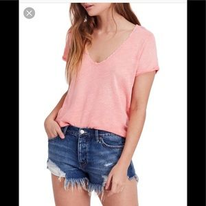 NWT Coral We the Free Deep Scoop Neck Top Tee